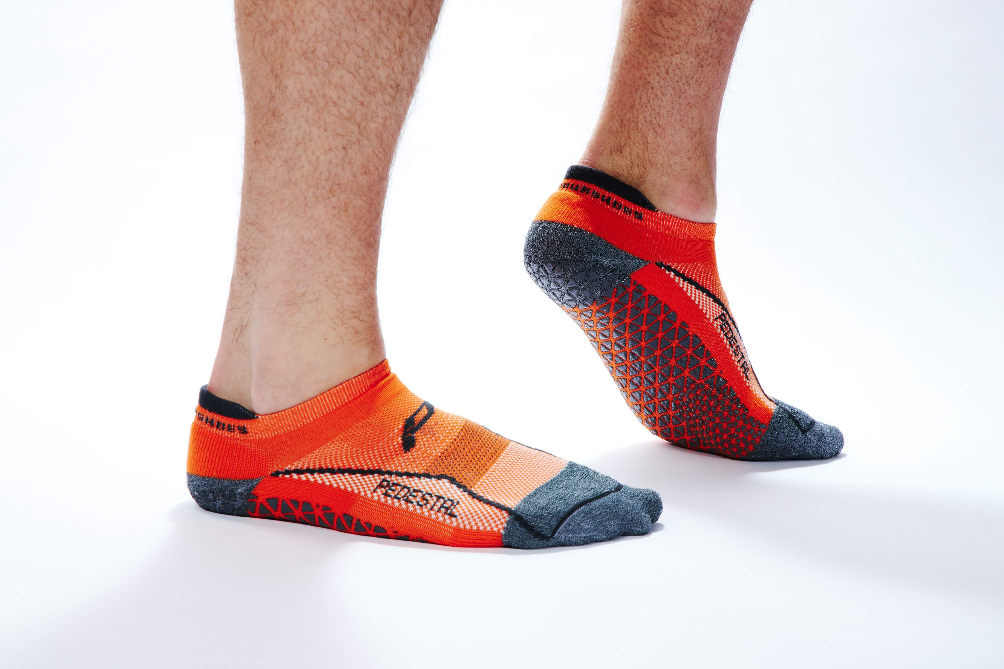 Pedestal Minimal Collection Grip Sock in Orange - Great for All Weightlifting